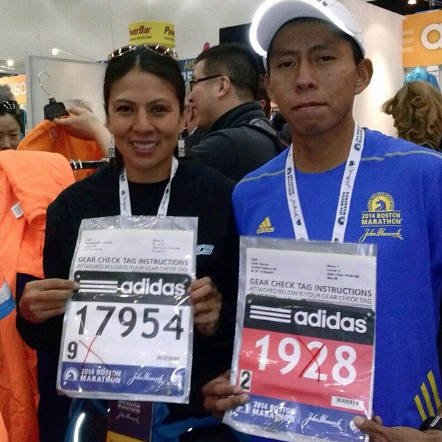 Pre-race photo of Caroline Sekaquaptewa and Steven Ovah, 2014 Boston Marathon